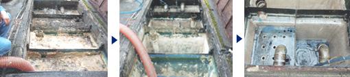 吸引前→吸引中→吸引清掃完了 グリストラップ 貯水槽 清掃 愛知県